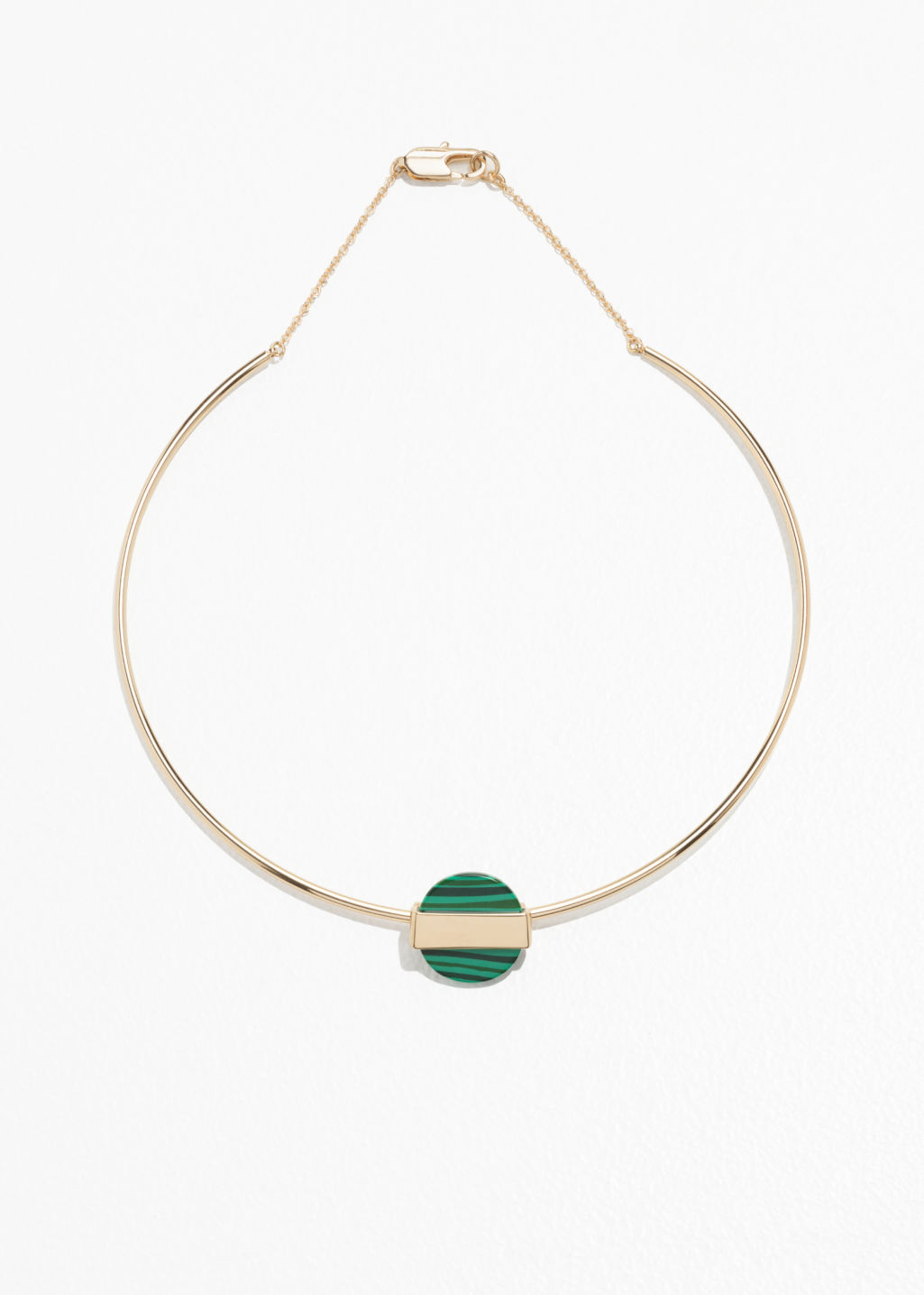 Front image of Stories metal crescent choker in green