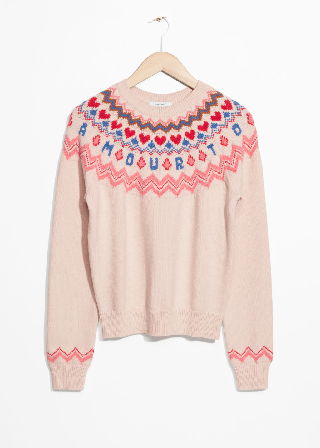 Front image of Stories amour sweater in pink