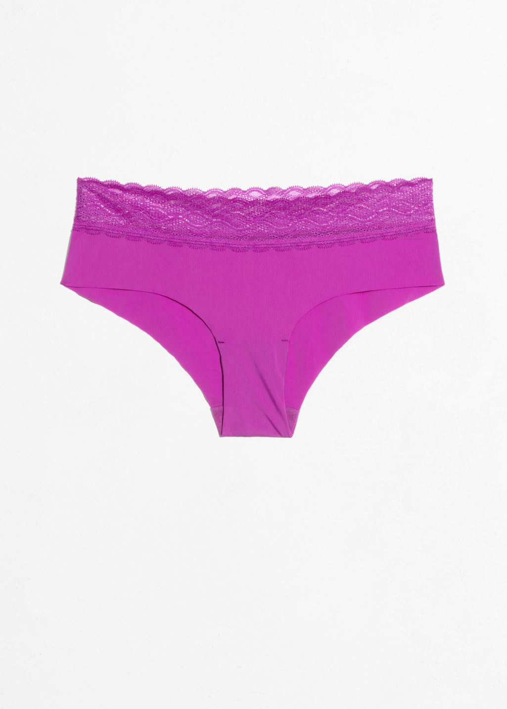 Front image of Stories seamless lace briefs in purple