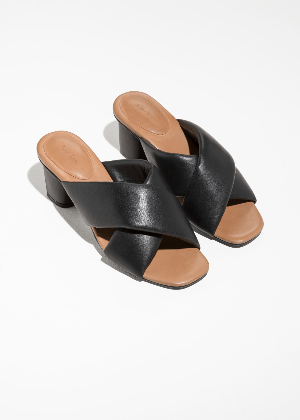 Back image of Stories criss cross heeled sandals in black