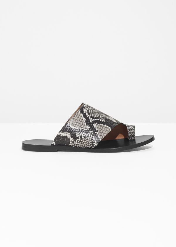 Front image of Stories curved wrap sandal in brown