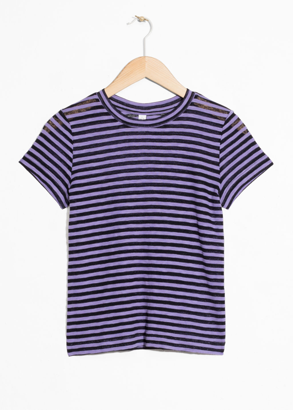 Front image of Stories sheer striped t-shirt in purple