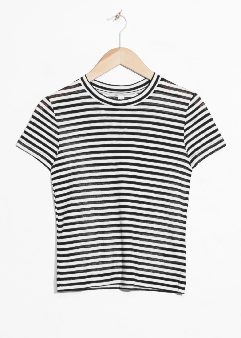 Front image of Stories sheer striped t-shirt in black