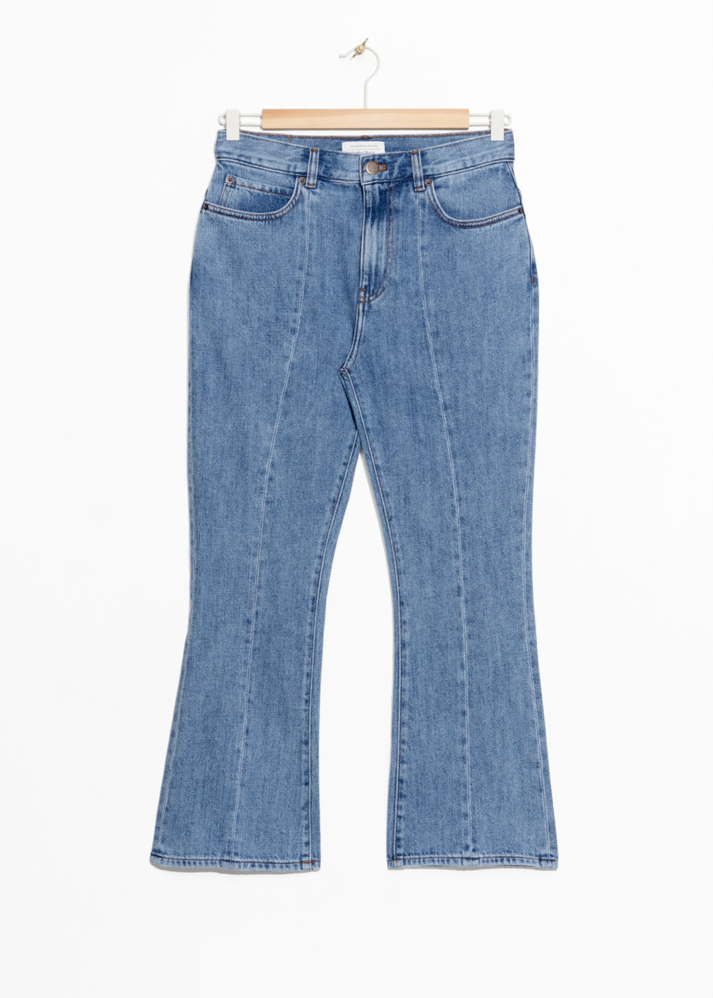Front image of Stories high kick flare jeans  in blue