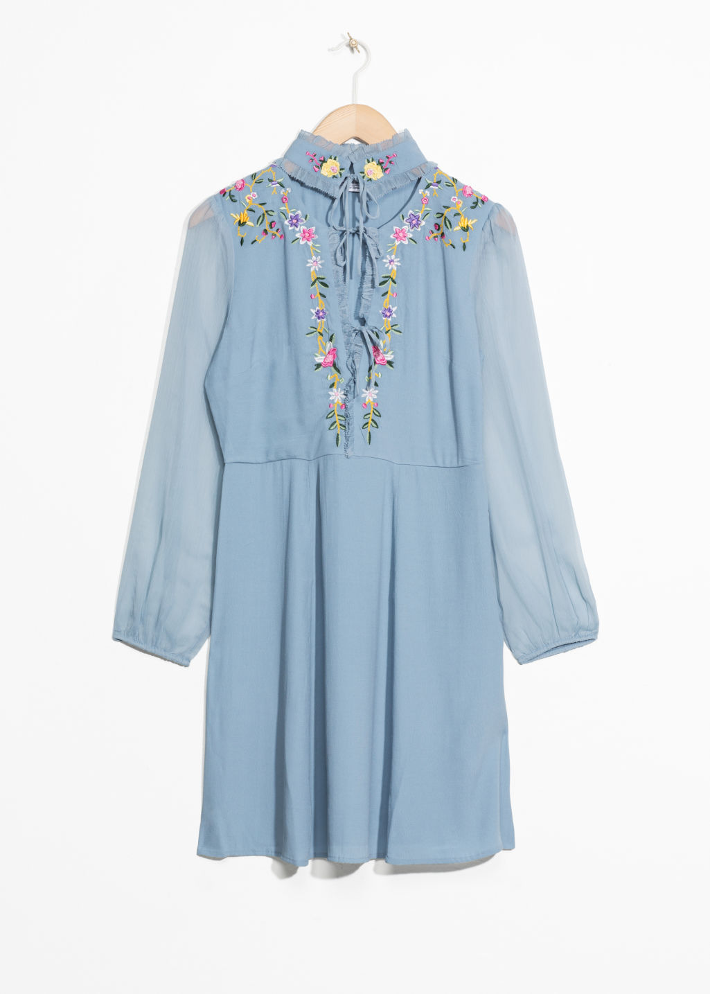 Front image of Stories floral embroidered dress in blue