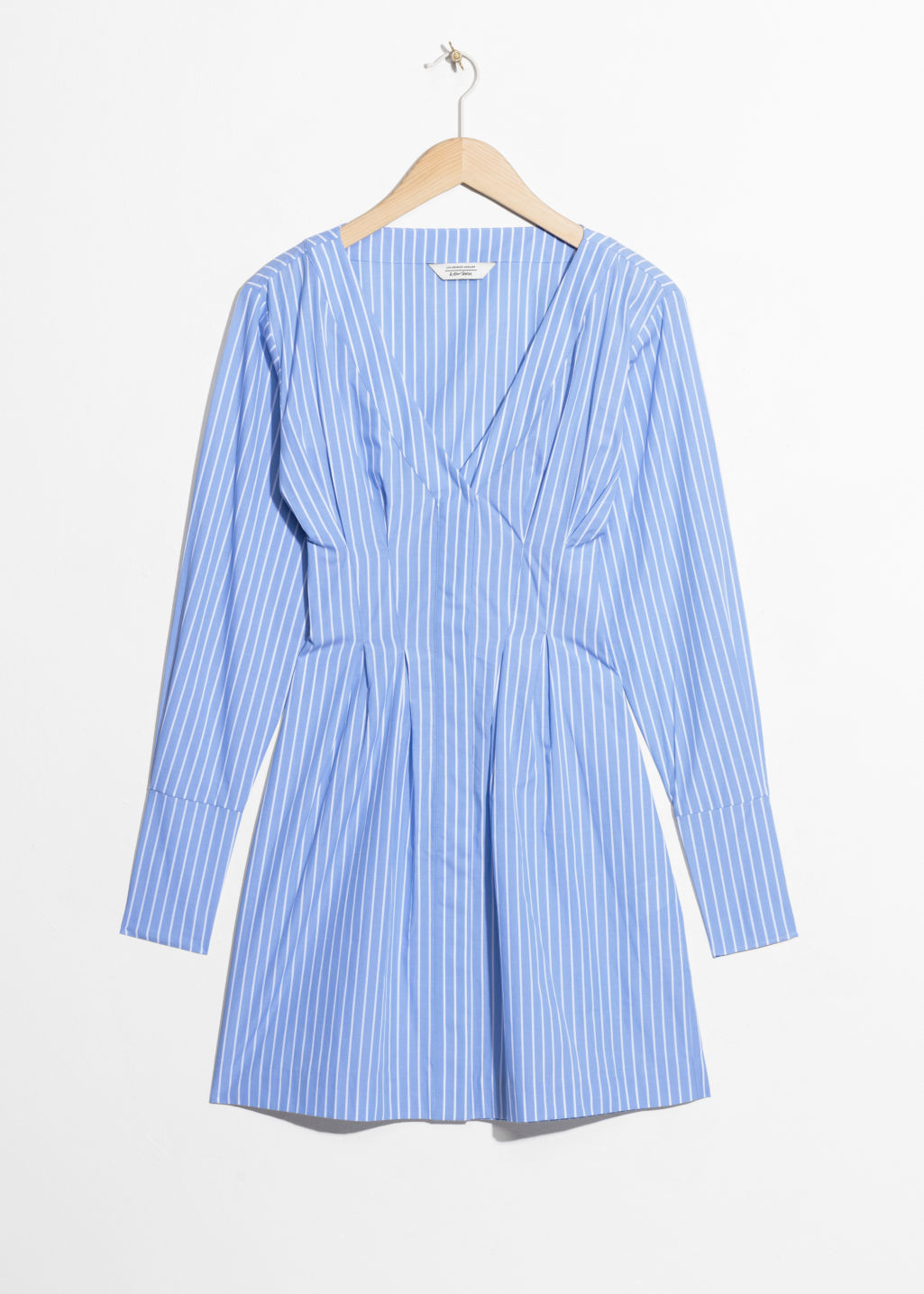 Front image of Stories pin stripe fit and flare dress in blue