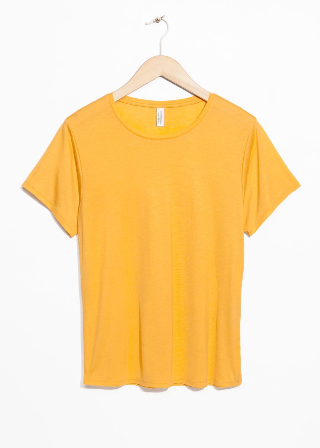 Front image of Stories relaxed fit jersey tee in yellow