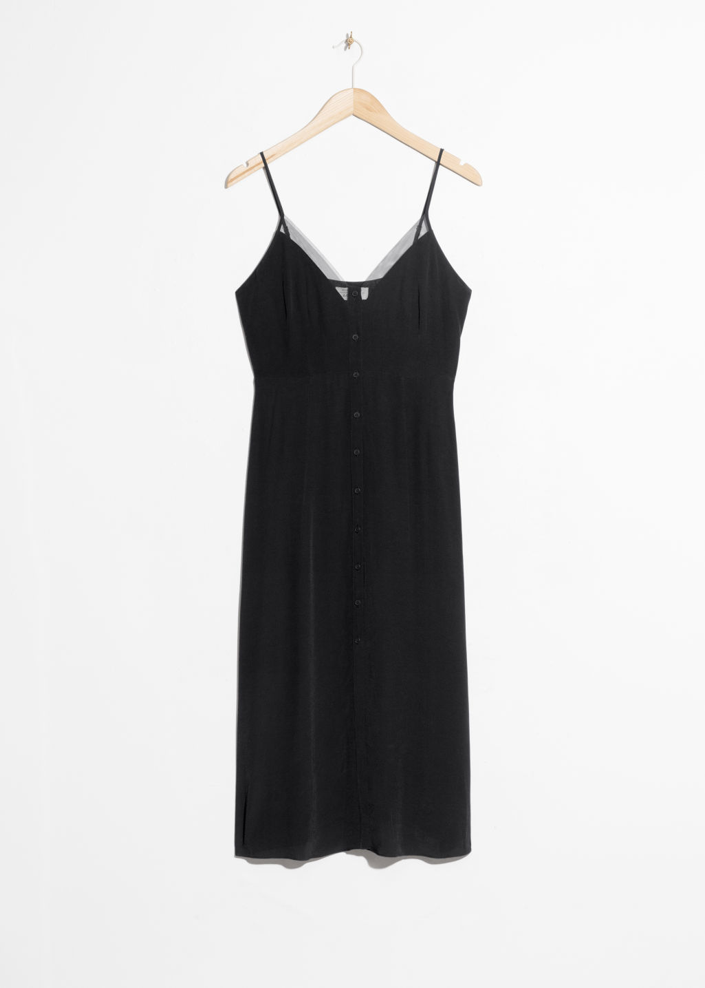 Front image of Stories mesh trim slip dress in black