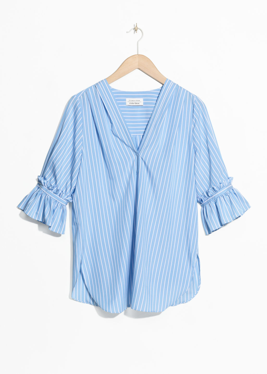 Front image of Stories frill sleeve blouse  in blue