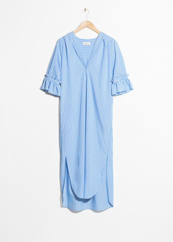 Front image of Stories frill sleeve shirt dress in blue