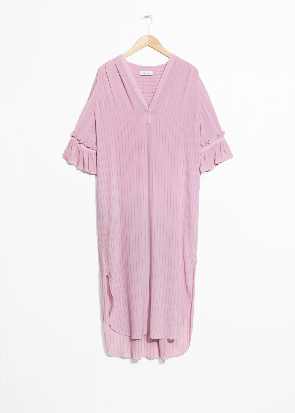 Front image of Stories frill sleeve shirt dress in pink