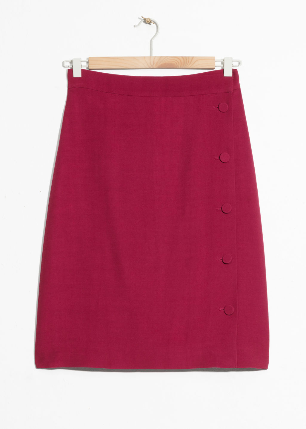 Front image of Stories high waist side button skirt in red