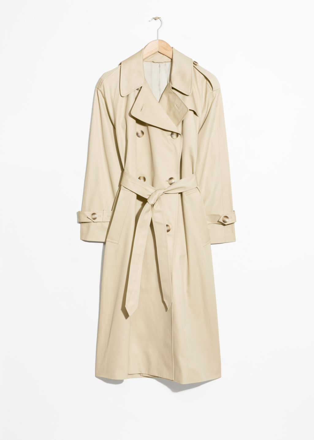 Front image of Stories belted trench coat  in beige