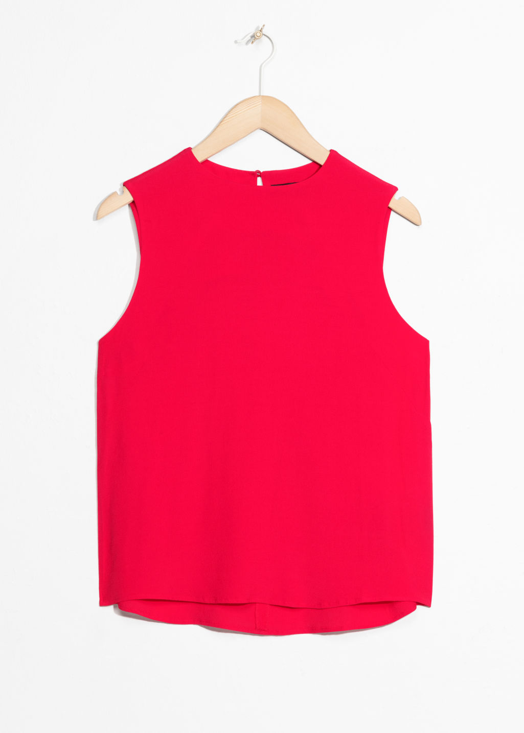 Front image of Stories sleeveless crepe top in red