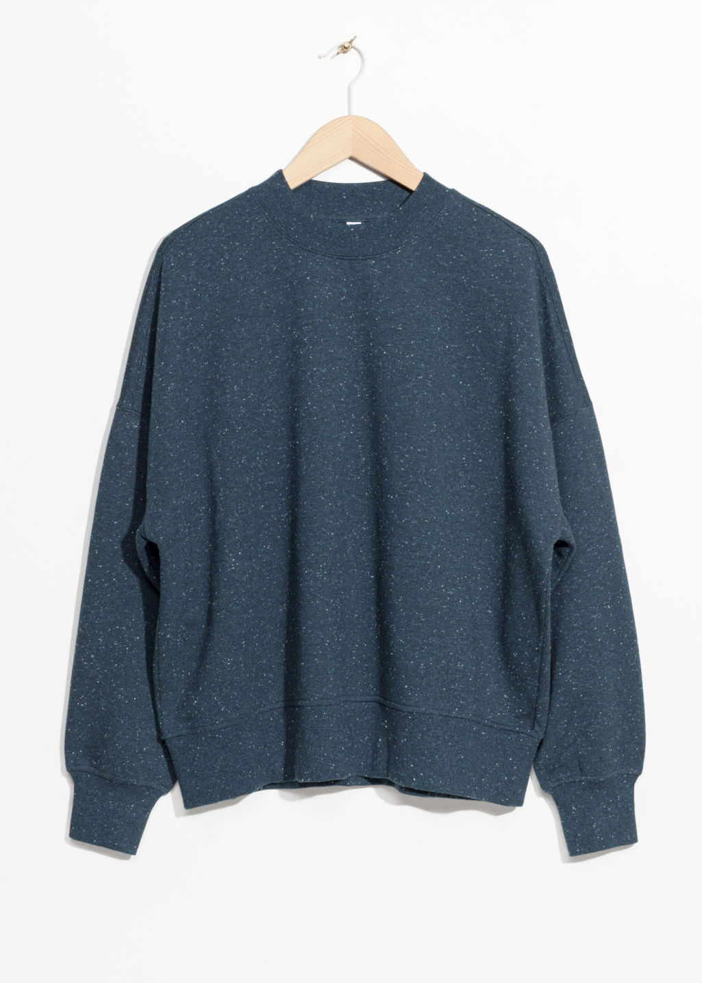 Front image of Stories speckled pullover in blue