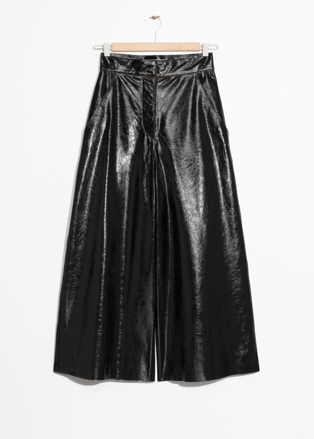 Front image of Stories patent leather culottes  in black