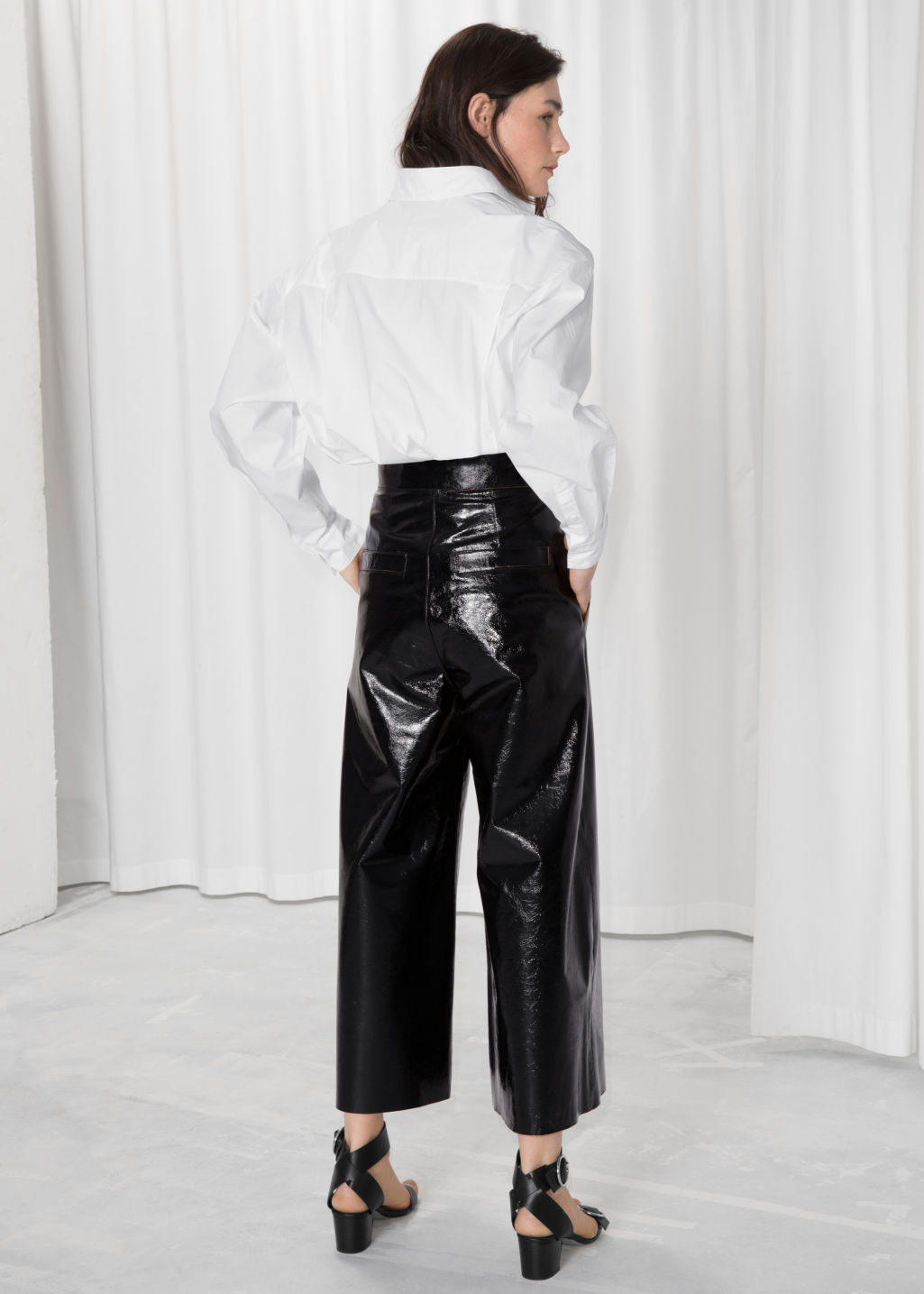 Back image of Stories patent leather culottes  in black