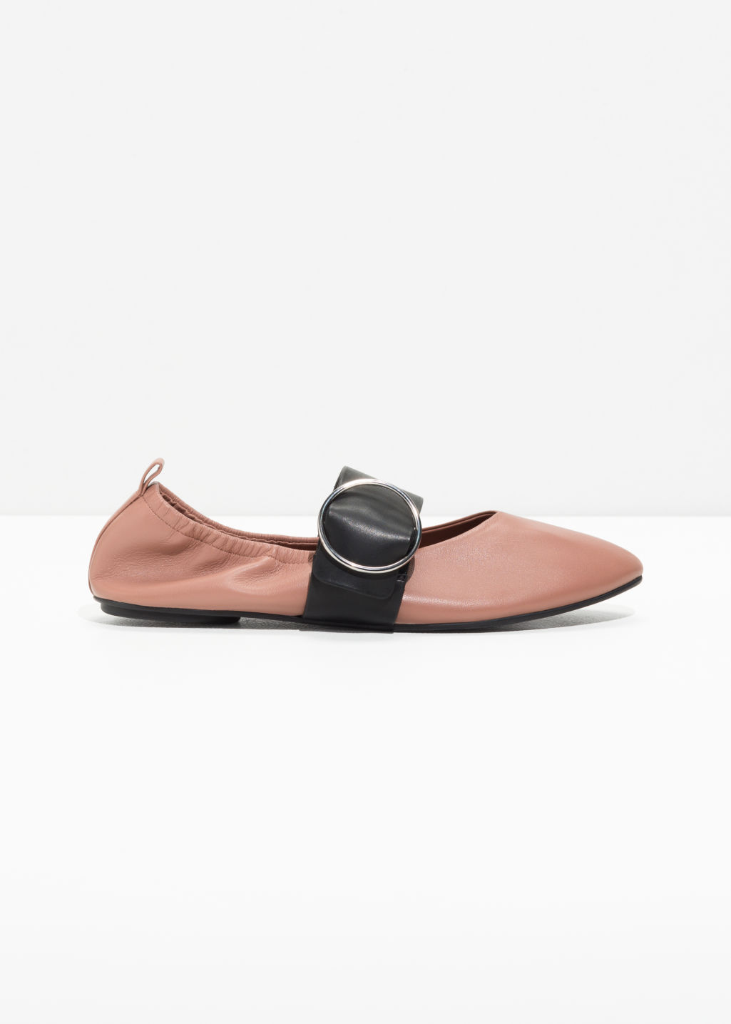 Front image of Stories ballerina buckle flats  in pink