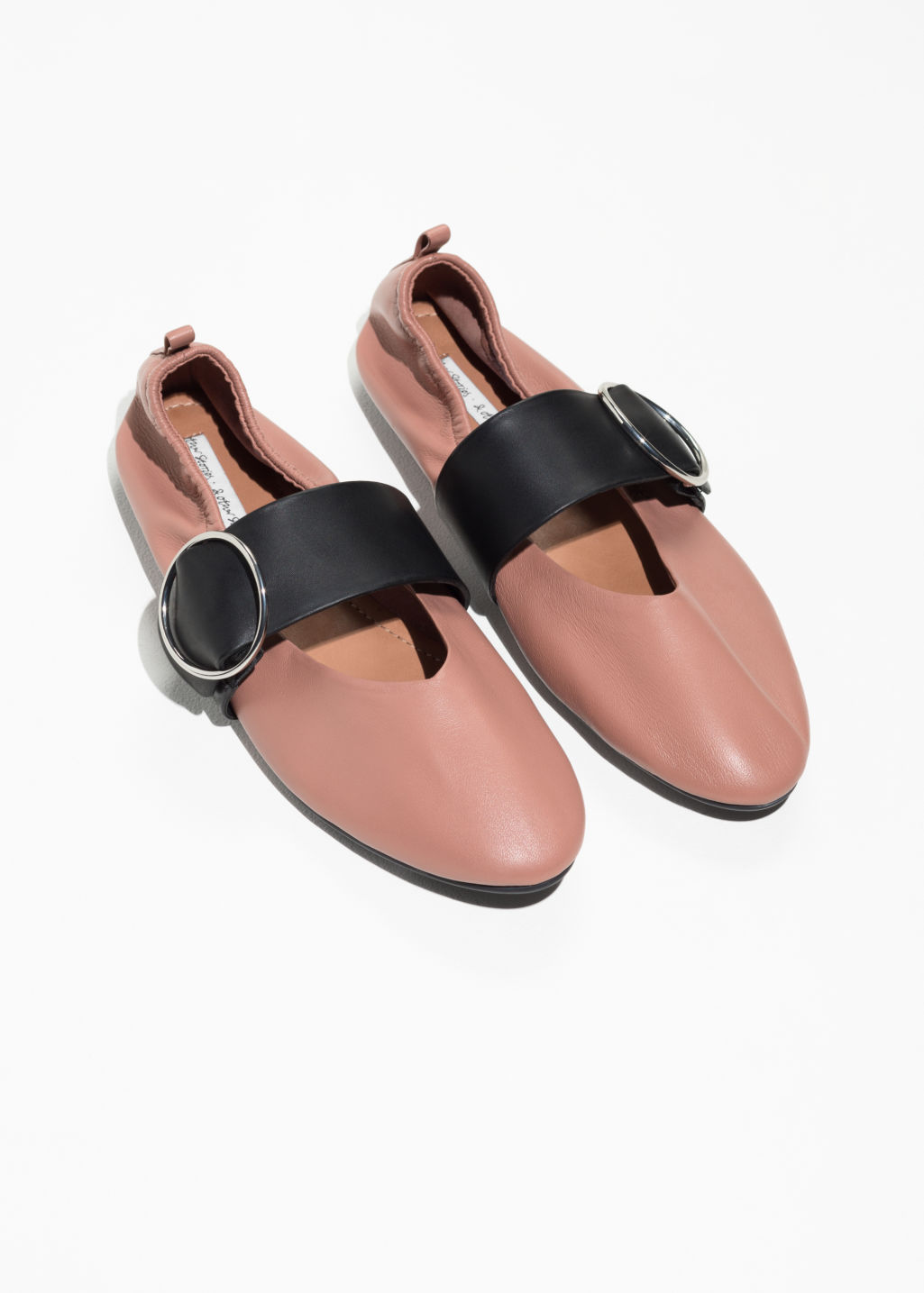 Back image of Stories ballerina buckle flats  in pink