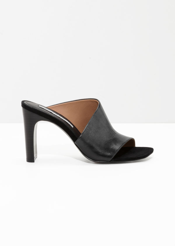 Front image of Stories asymmetrical open toe pumps  in black