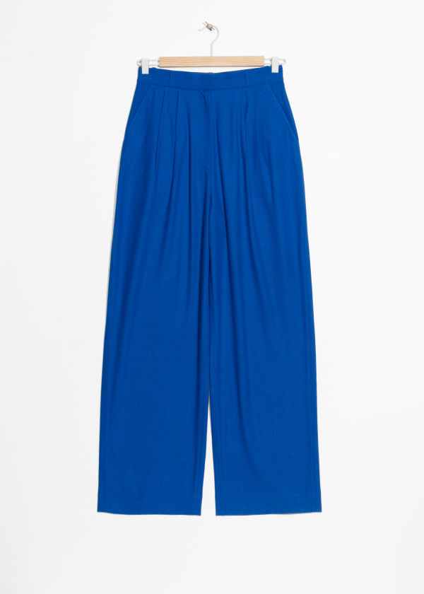 High Waisted Wide Raw Silk Trousers
