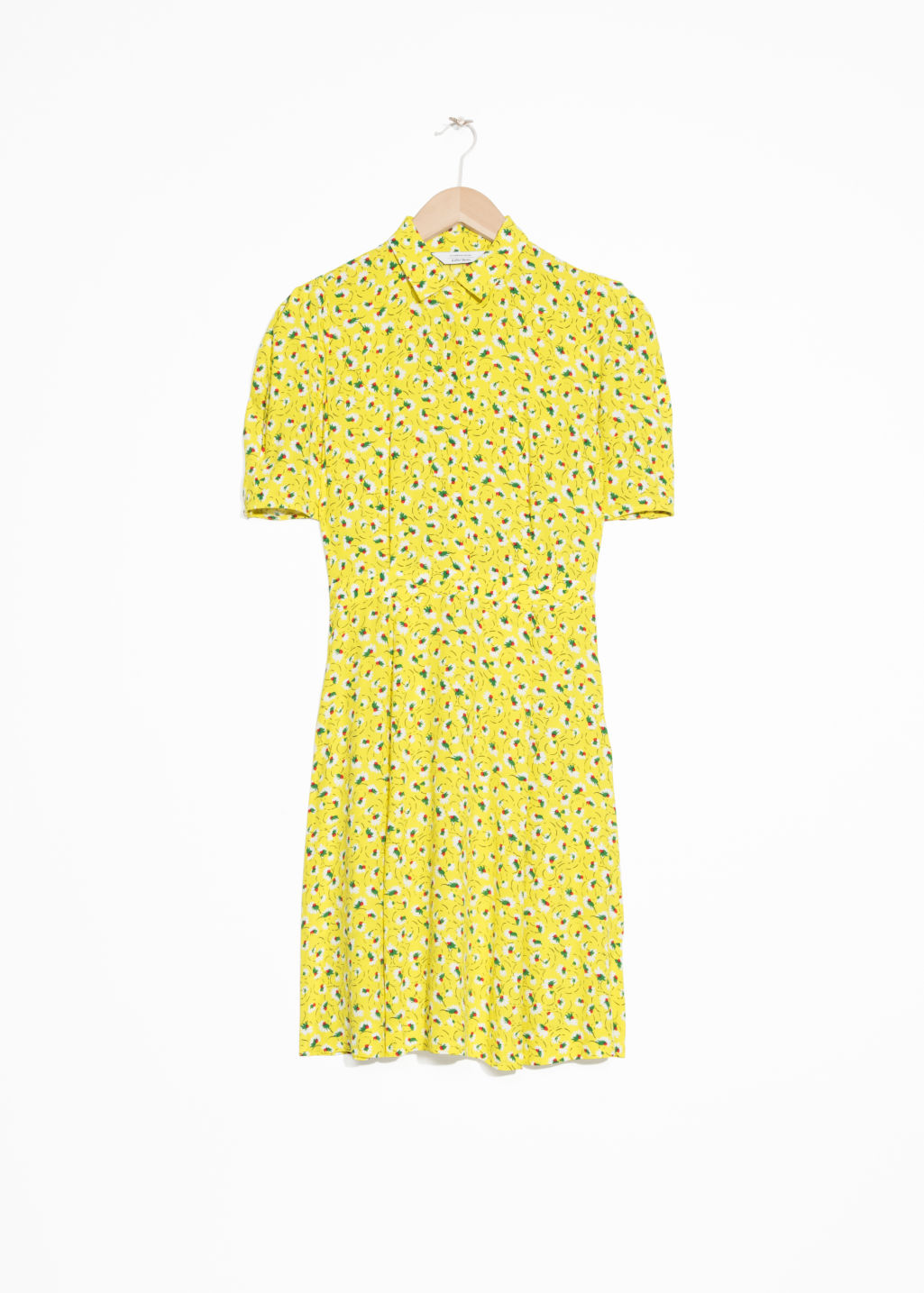Front image of Stories fit and flare dress in yellow