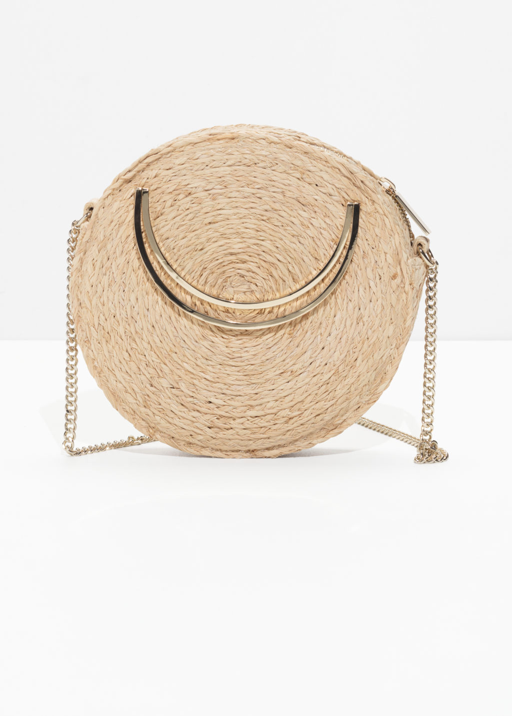Front image of Stories straw circle crossbody in beige
