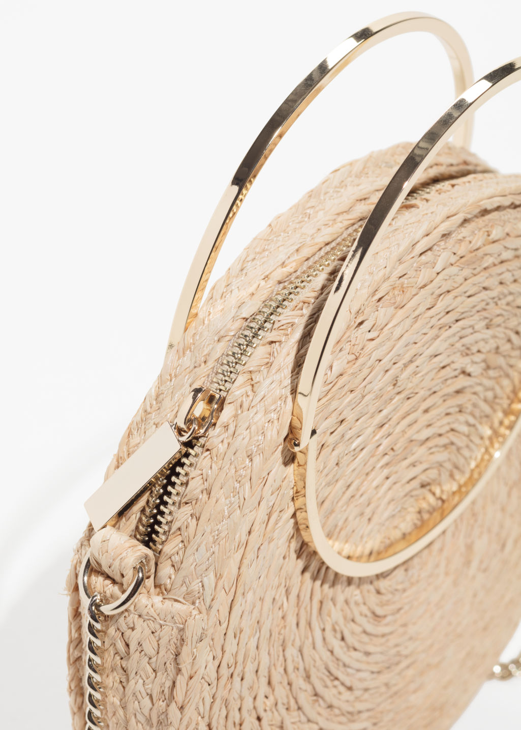 Back image of Stories straw circle crossbody in beige