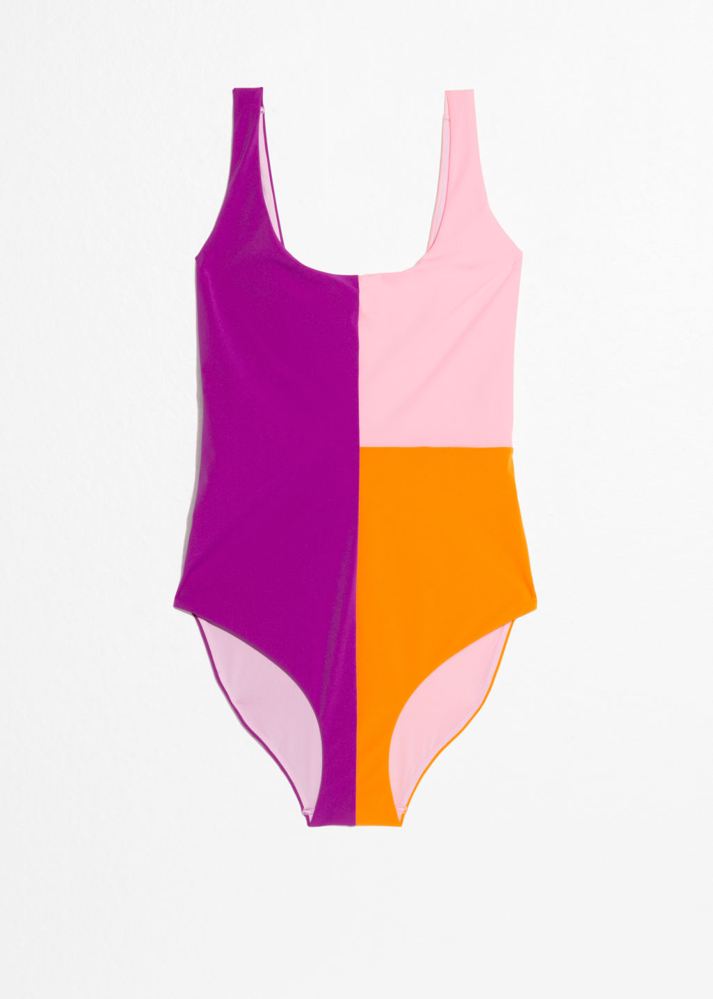 Front image of Stories colour block swimsuit in purple