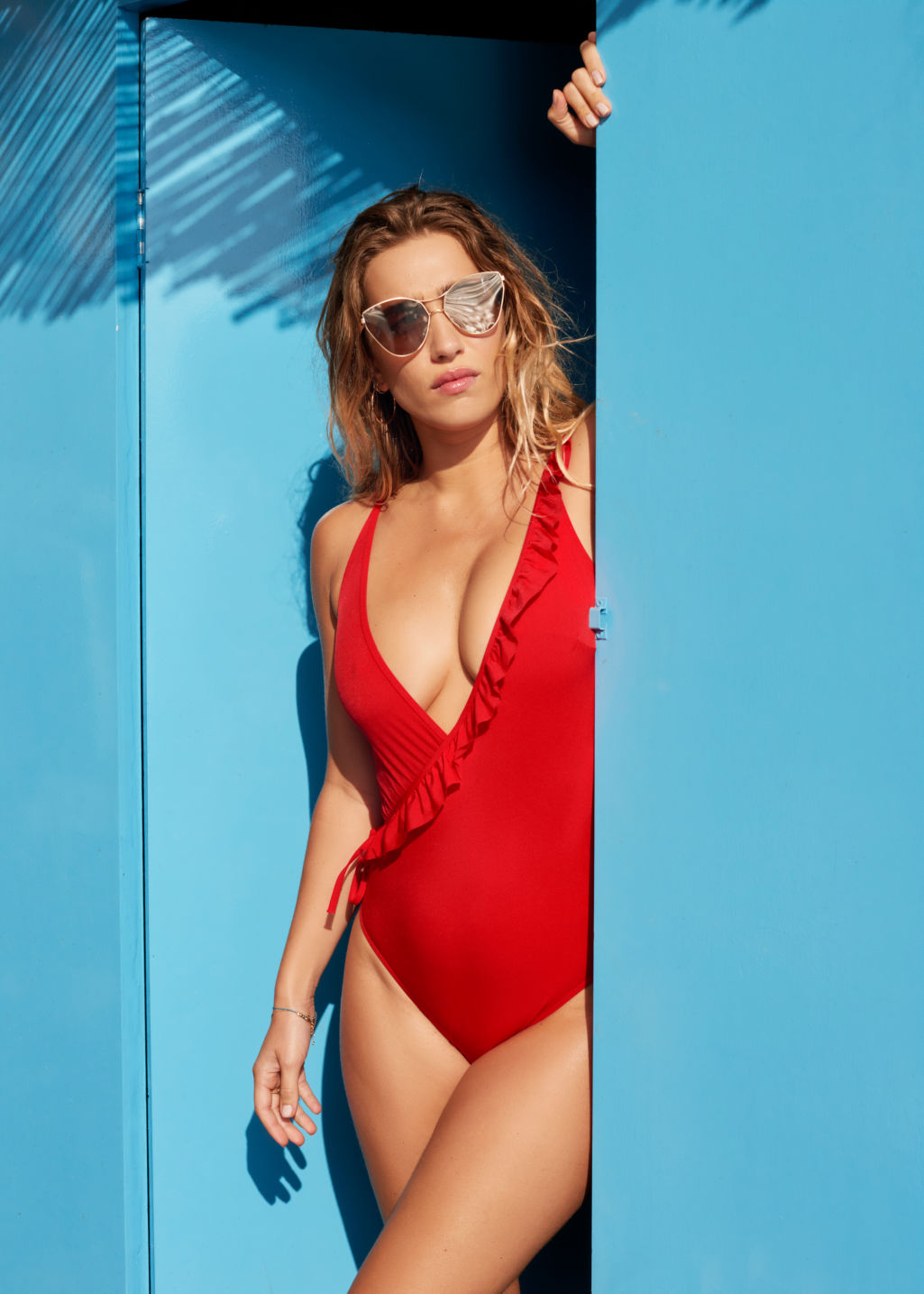 Back image of Stories polka dot wrap swimsuit in red