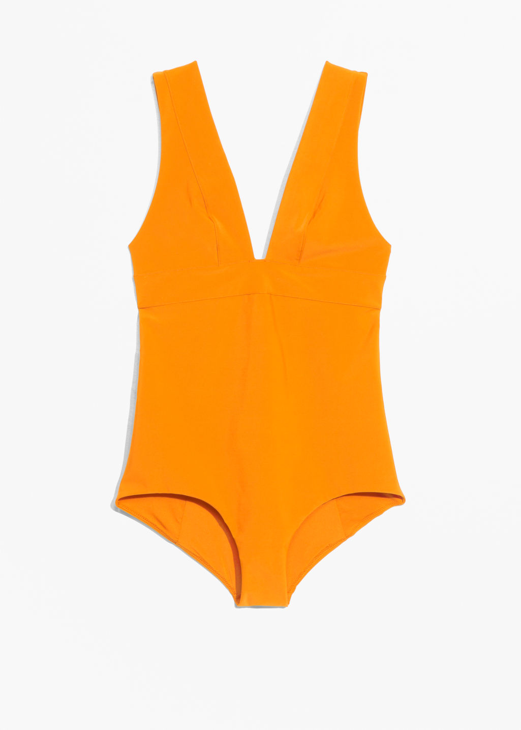 Front image of Stories v-cut swimsuit  in orange