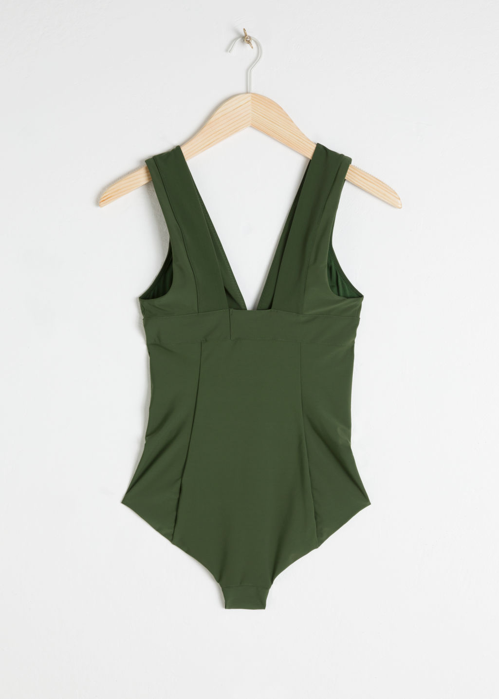 Back image of Stories v-cut swimsuit  in green