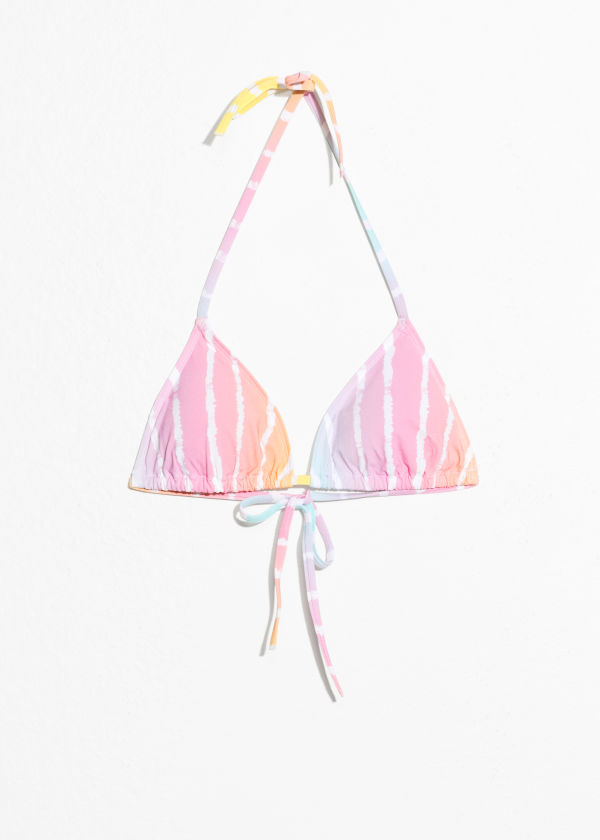 Front image of Stories soft triangle bikini top  in pink