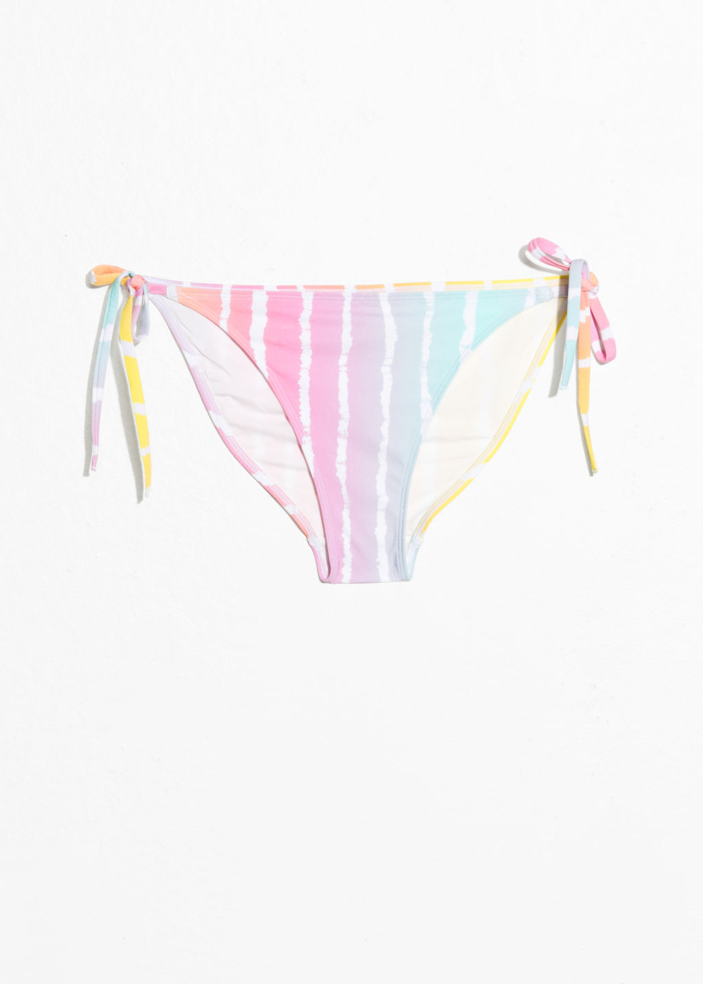 Front image of Stories side tie bikini briefs in pink