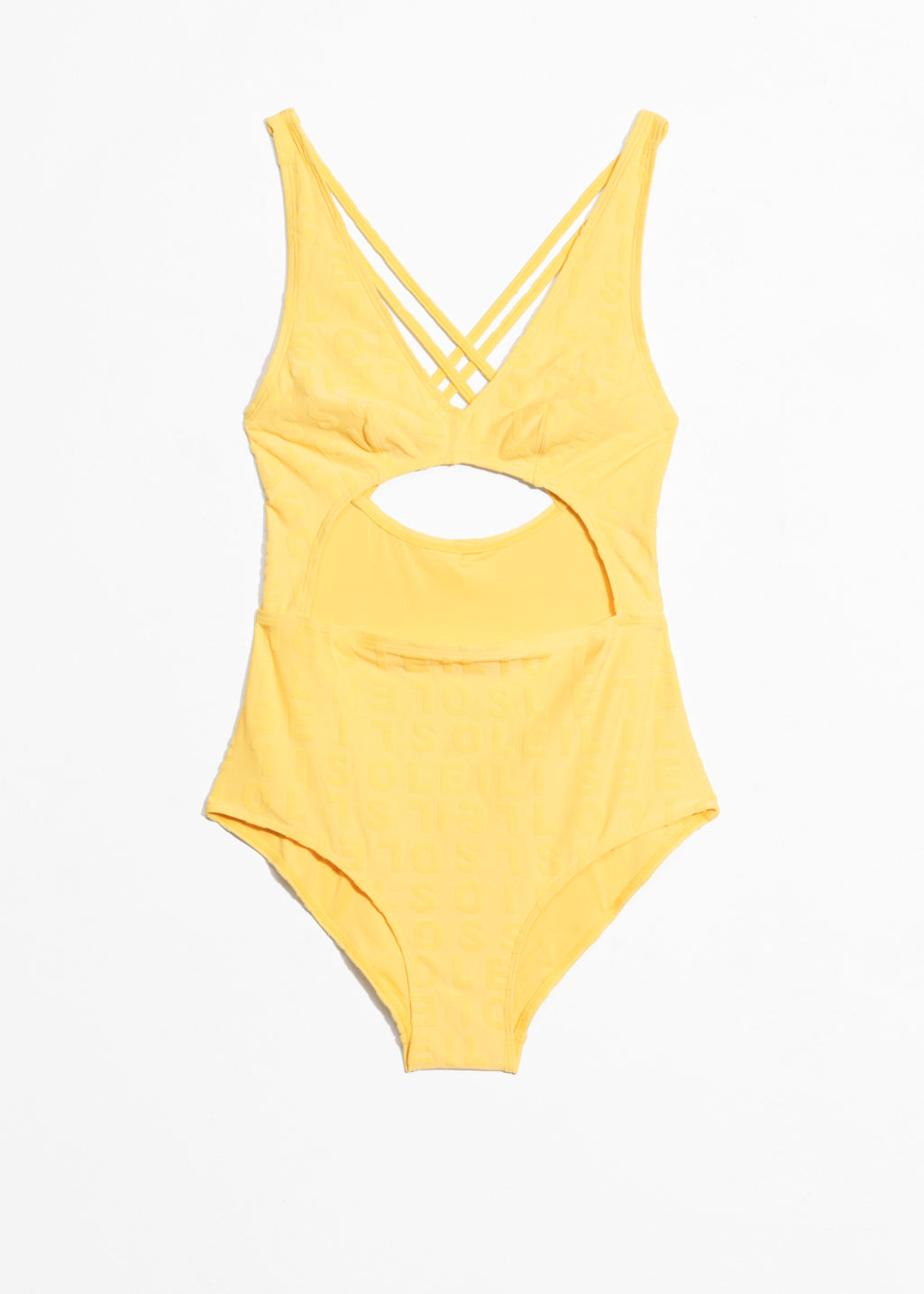 Front image of Stories cutout swimsuit  in yellow