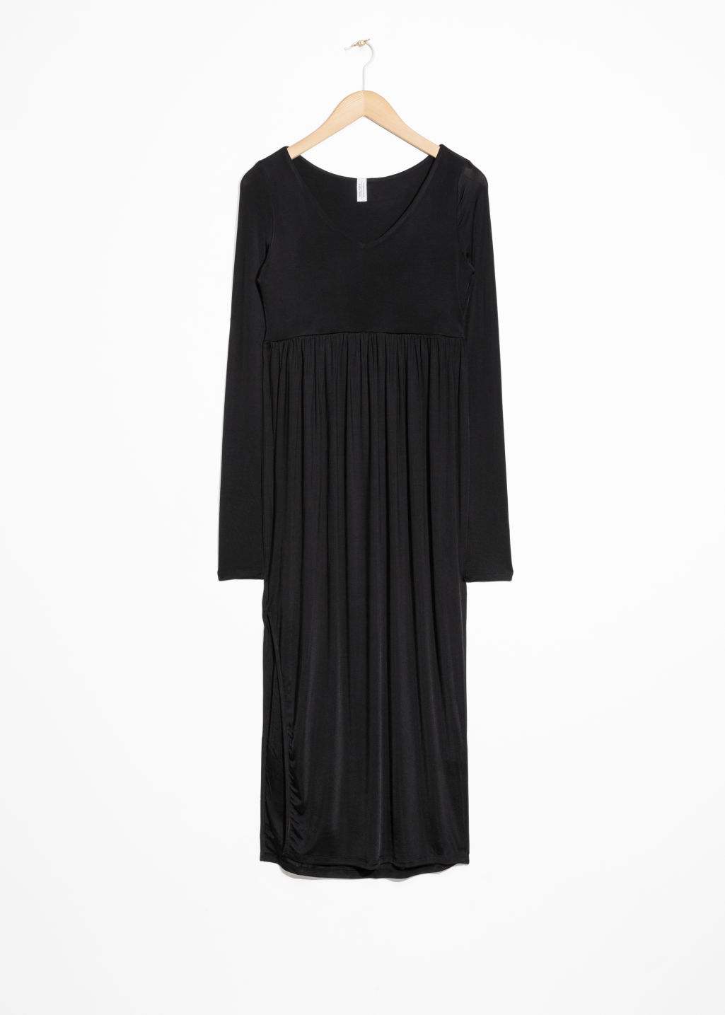 Front image of Stories midi dress in black