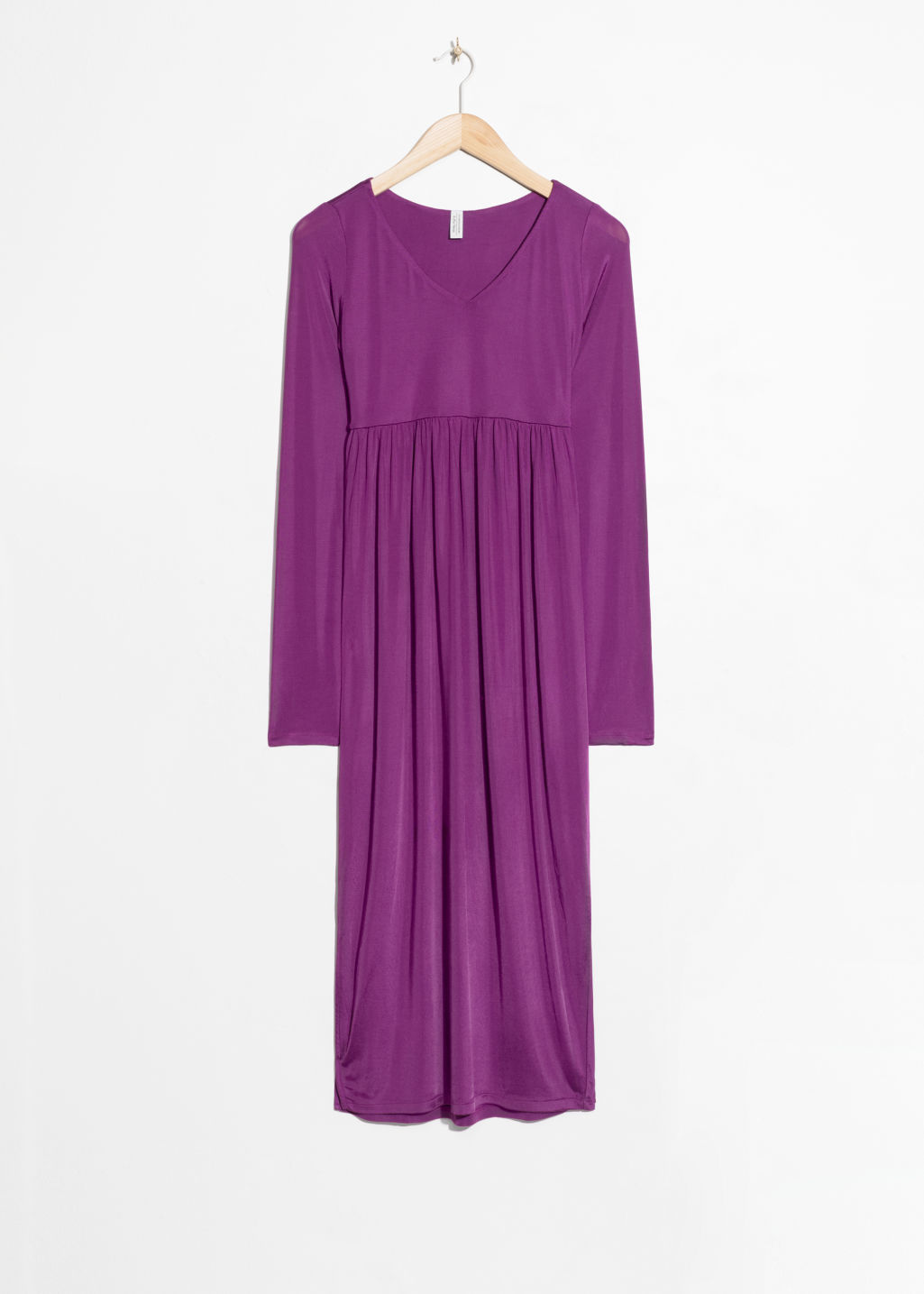 Front image of Stories midi dress in purple