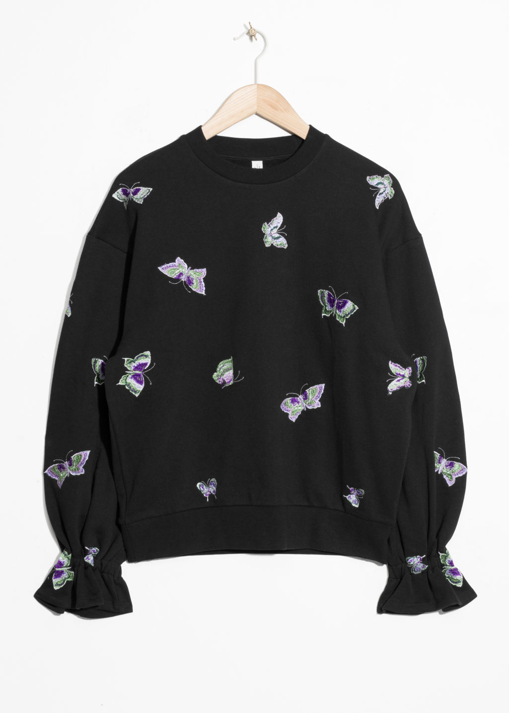 Front image of Stories embroidered sweatshirt  in black