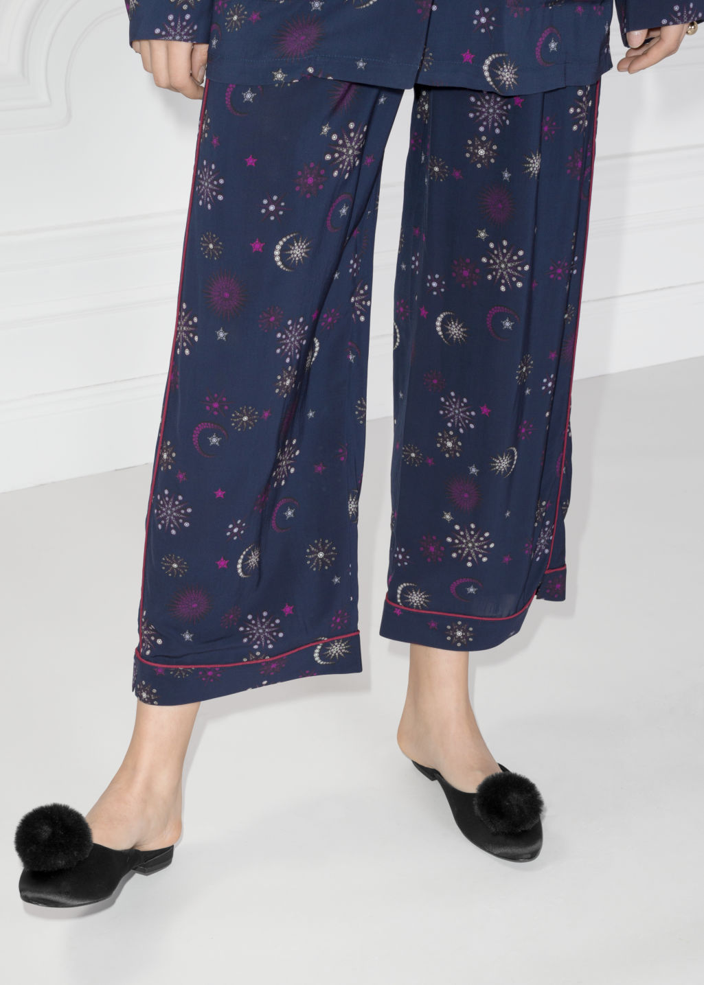 Back image of Stories printed jacquard trousers in blue