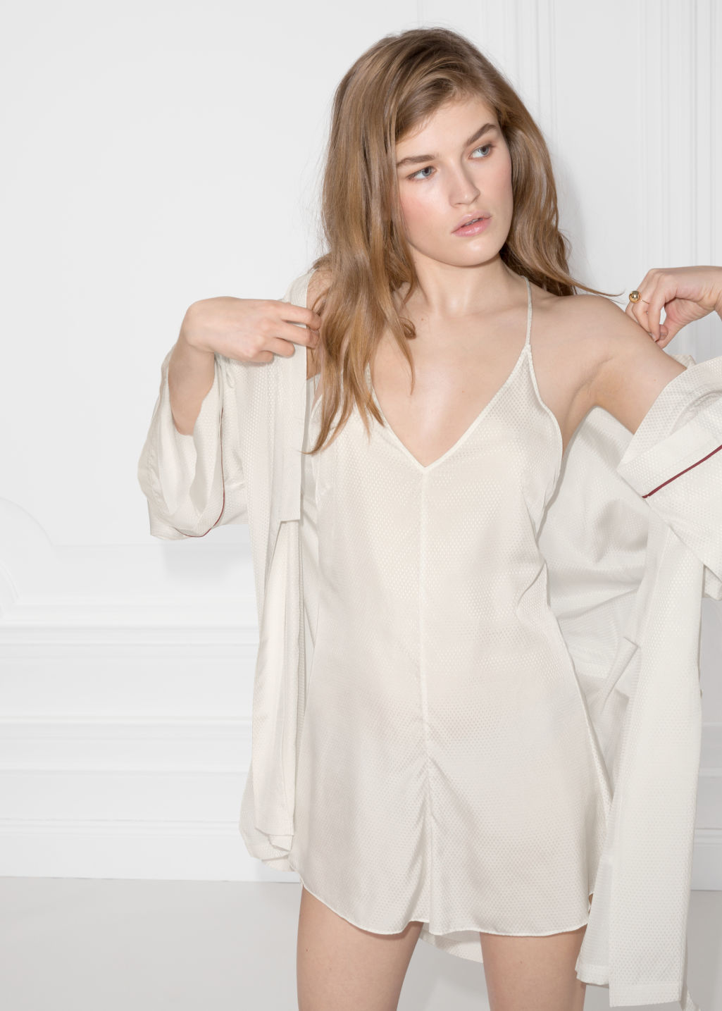Back image of Stories lounge playsuit in beige