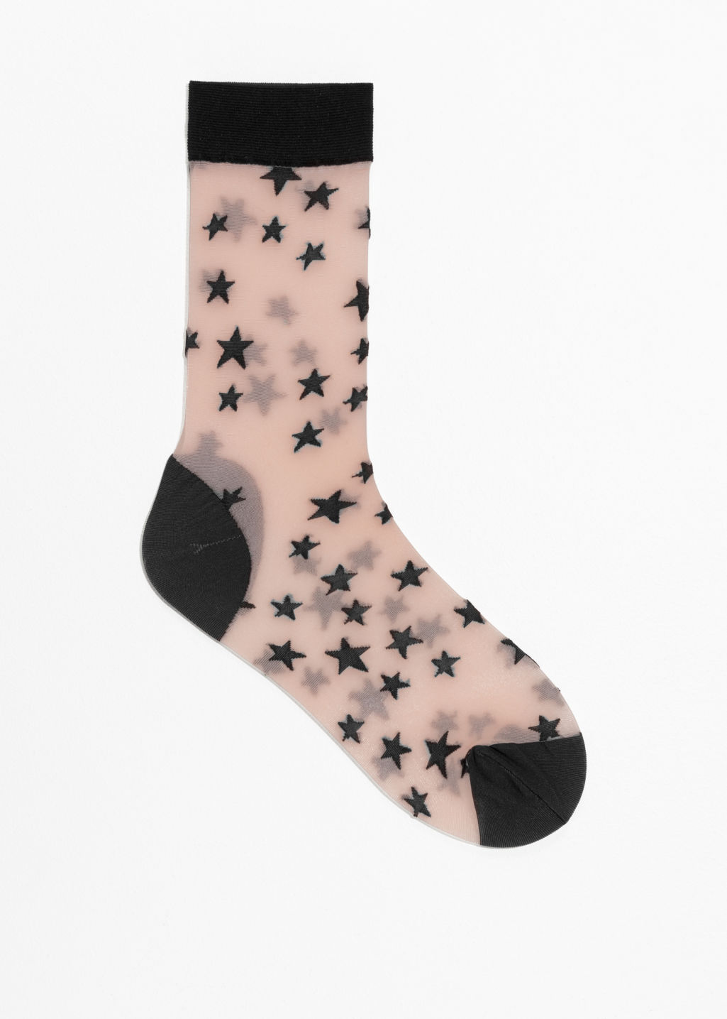 Front image of Stories sheer star socks in black