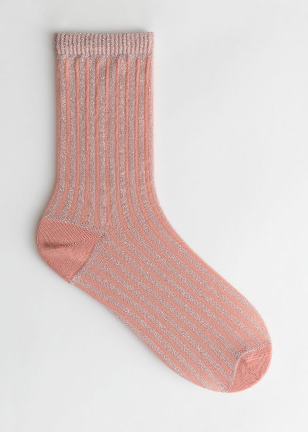 Front image of Stories glitter rib socks in orange