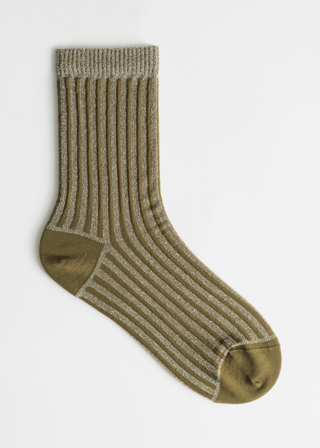 Front image of Stories glitter rib socks in green