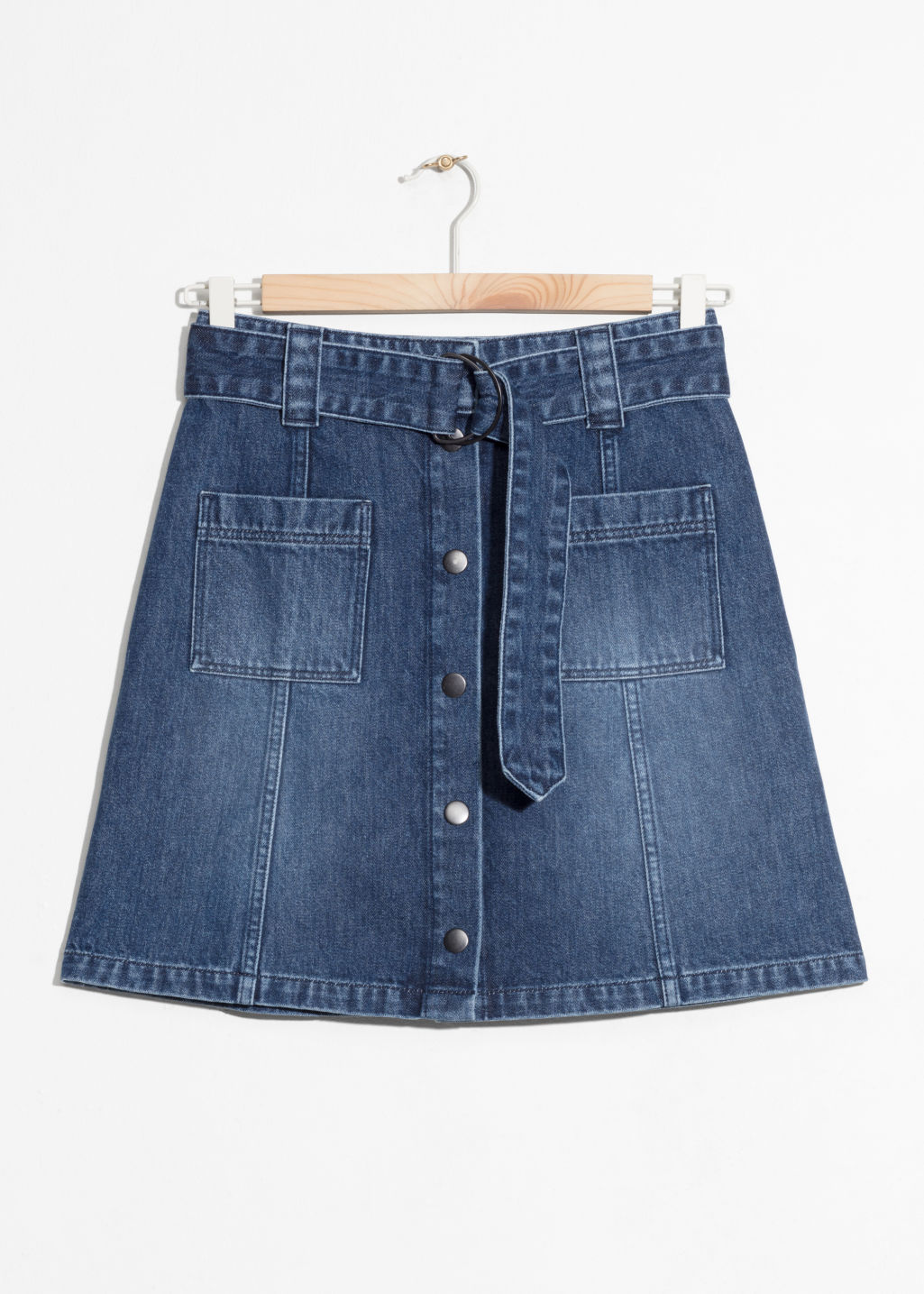 Front image of Stories a-line denim mini skirt  in blue