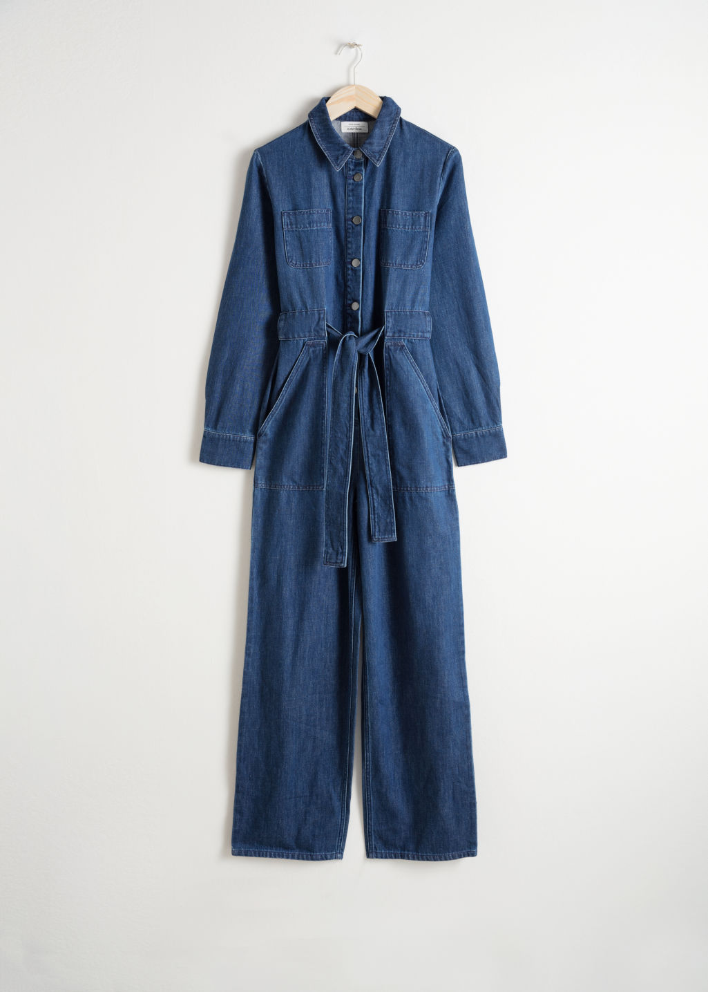 Front image of Stories denim overall jumpsuit  in blue