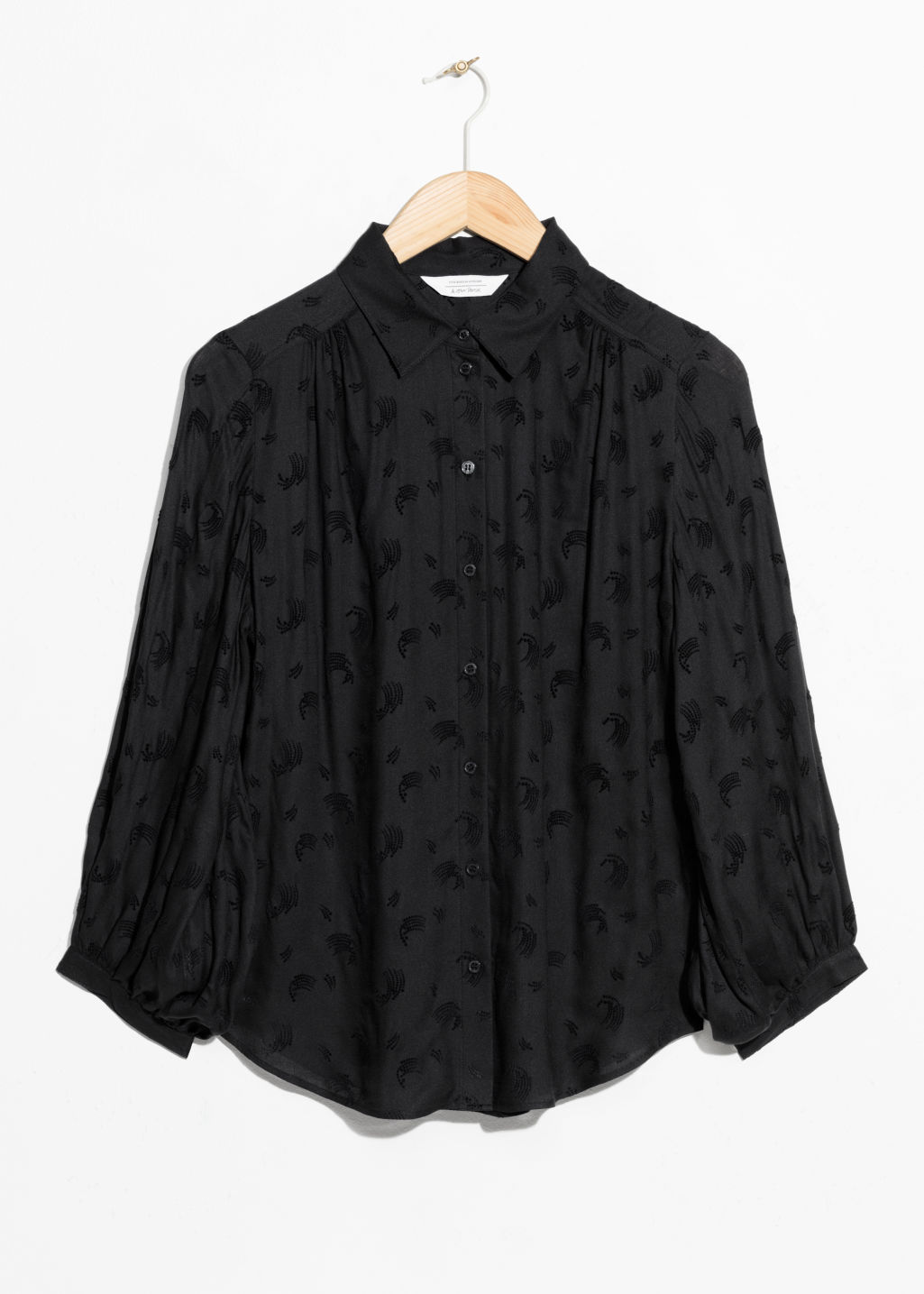 Front image of Stories shooting star jacquard blouse  in black