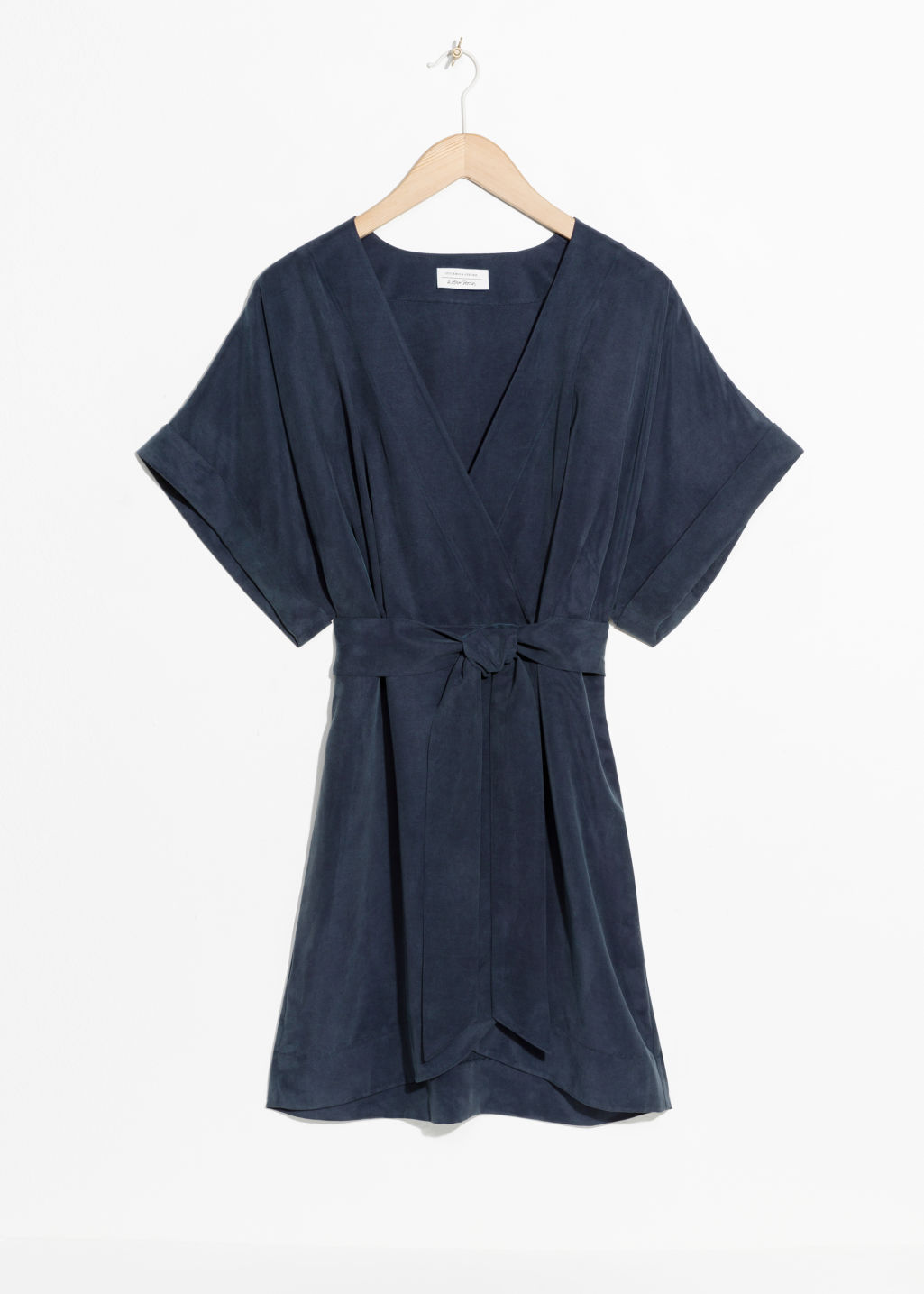 Front image of Stories belted wrap mini dress in blue
