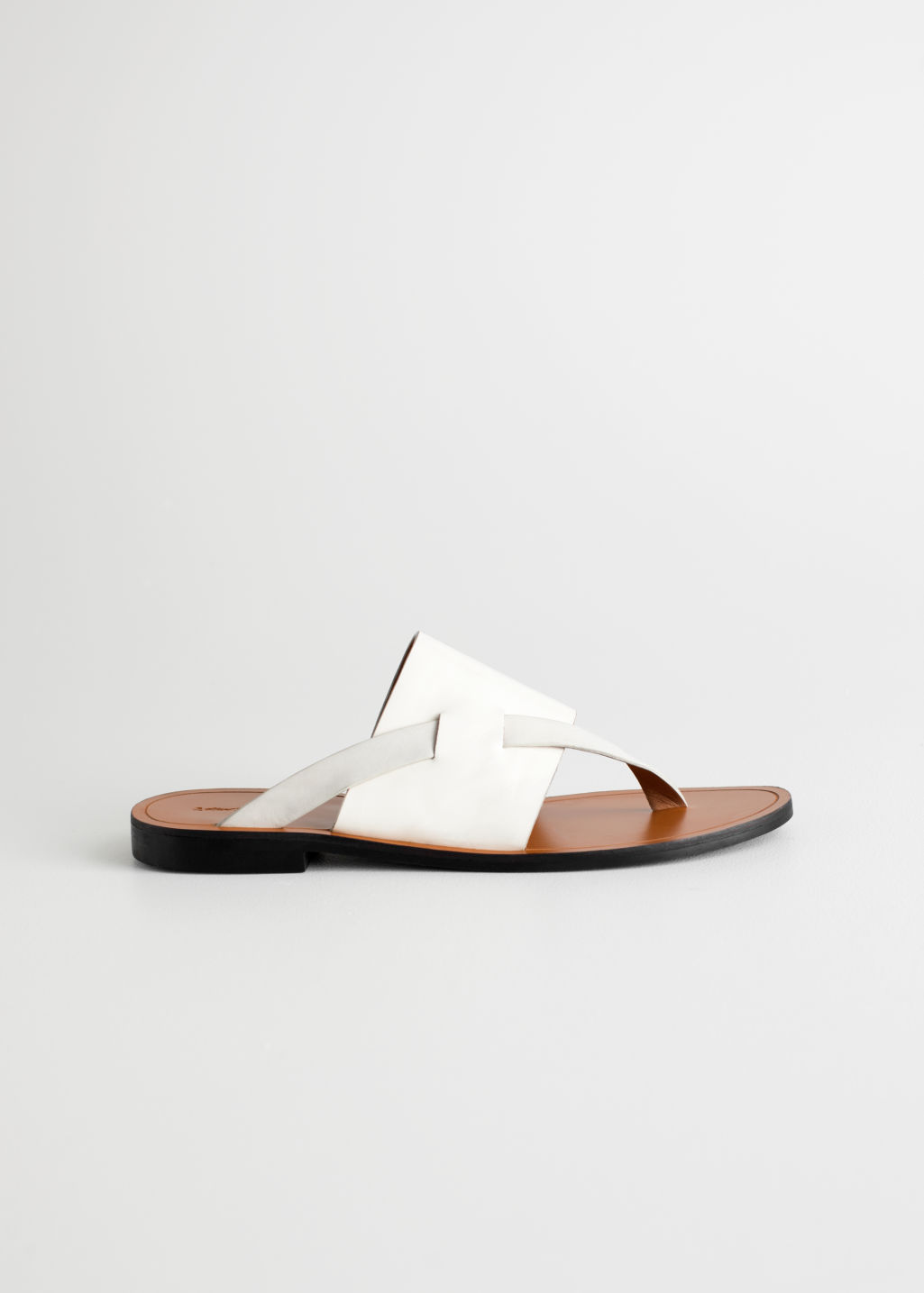 Front image of Stories curved t-bar strap sandals in white