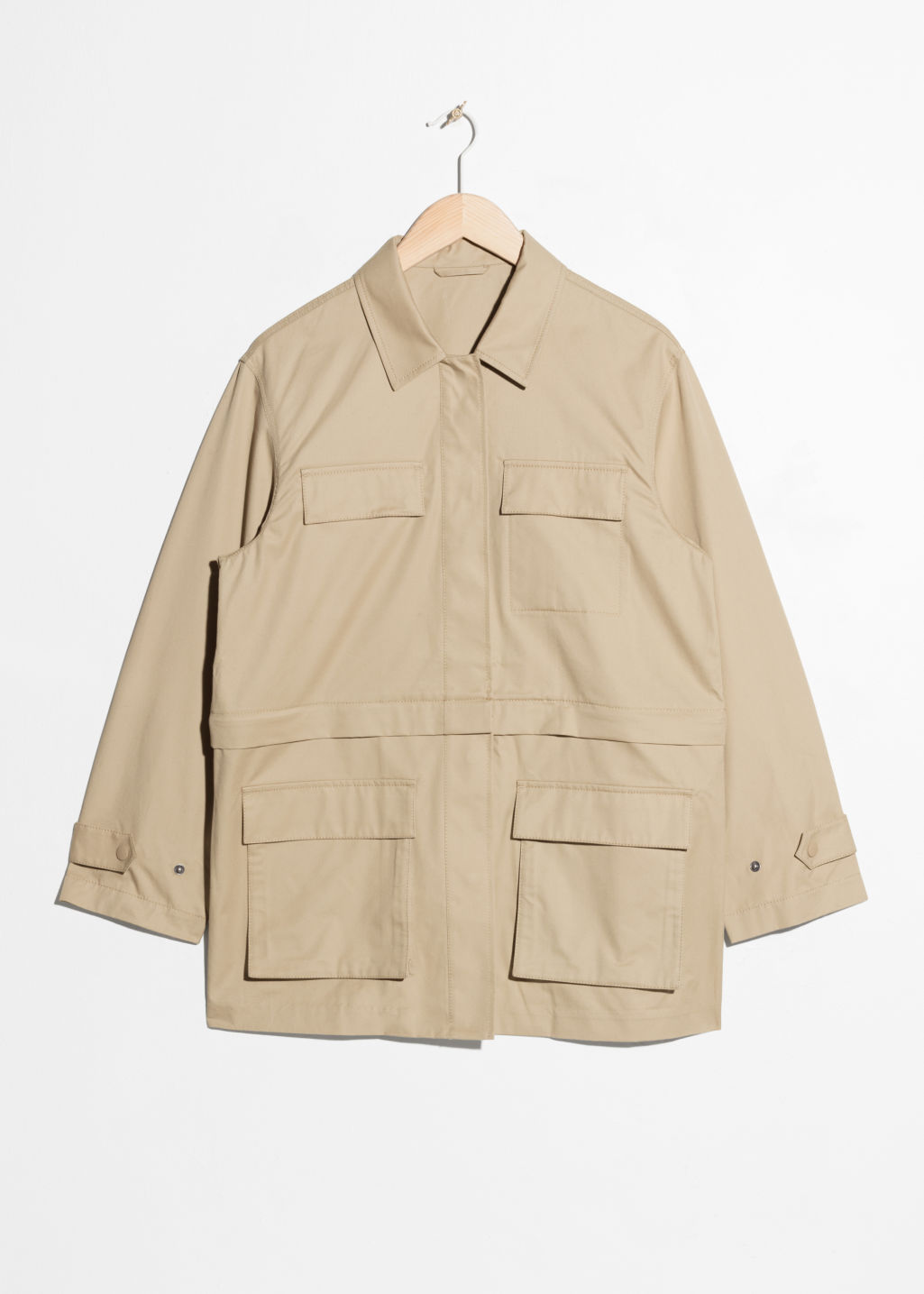 Front image of Stories army jacket in beige