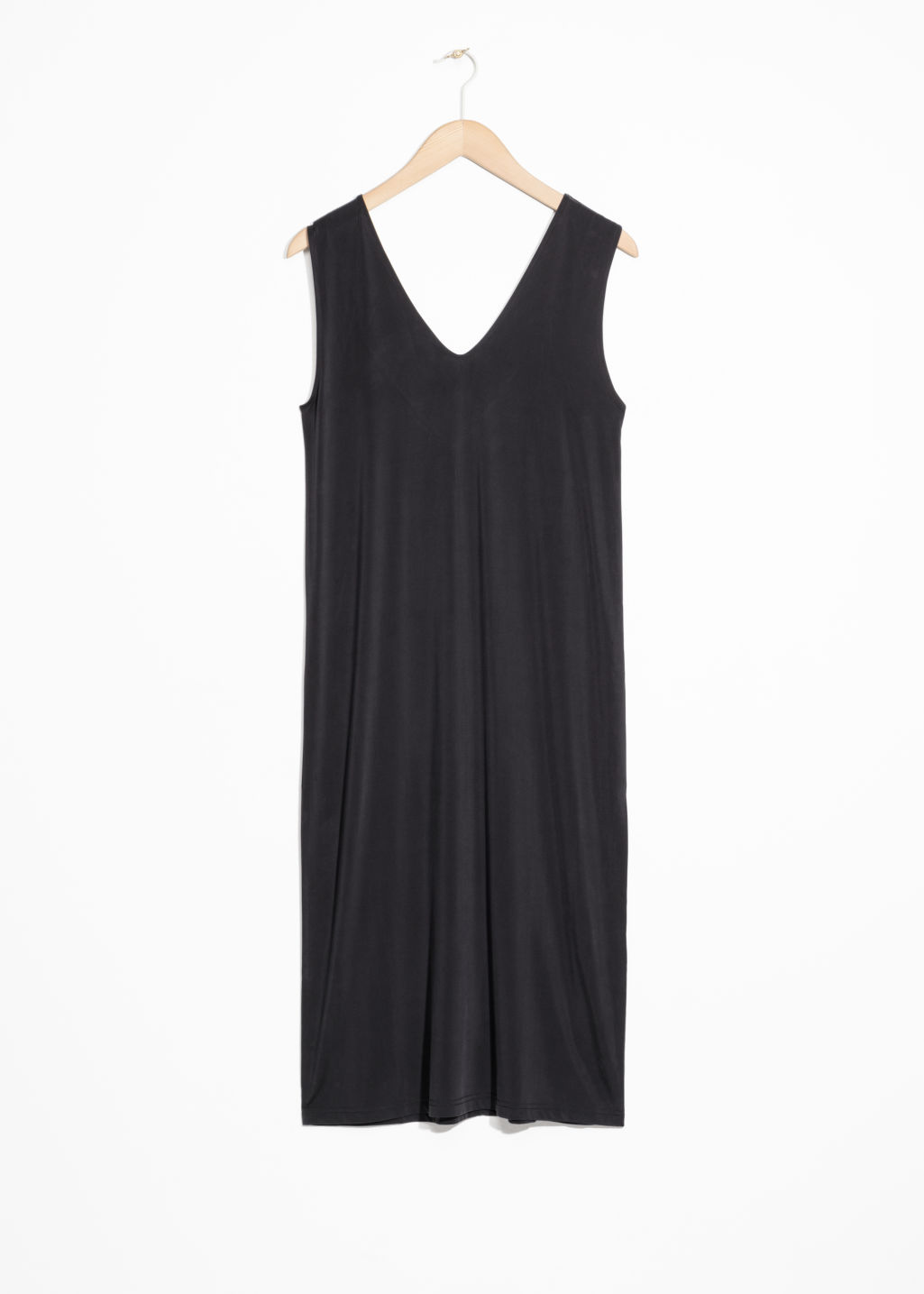 Front image of Stories twist strap midi dress in black